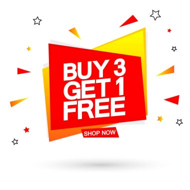 Buy 3 Get 1 Free, special offer, Sale banner design template, discount tag, end of season, promo poster, special offer vector illustration