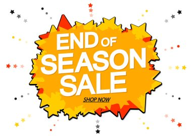 End of Season Sale banner design template, discount tag, vector illustration