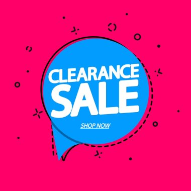 Clearance Sale, tag design template, discount speech bubble banner, app icon, vector illustration