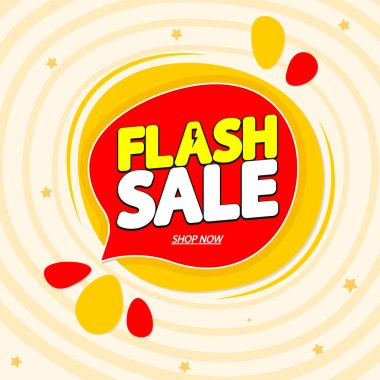 Flash Sale, tag design template, discount speech bubble banner, special offer, best season deal, vector illustration