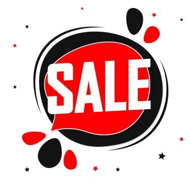Sale tag design template, discount speech bubble banner, best season deal, vector illustration