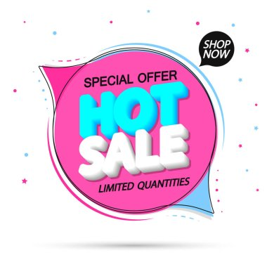 Hot Sale, tag design template, discount speech bubble banner, best season deal, vector illustration