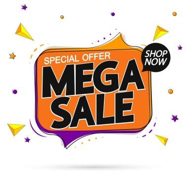 Mega Sale, tag design template, discount speech bubble banner, best season deal, vector illustration