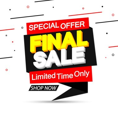 Final Sale, tag design template, discount speech bubble banner, best season deal, vector illustration
