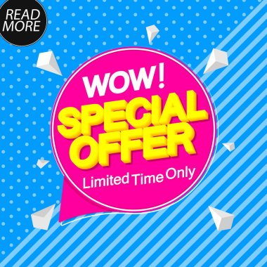 Special Offer, sale tag design template, discount speech bubble banner, best season deal, vector illustration