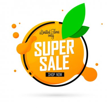 Super Sale, banner design template, special offer, discount tag, promotion app icon, vector illustration