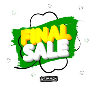 Final Sale, banner design template, special offer, discount tag, promotion app icon, vector illustration