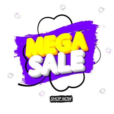 Mega Sale, banner design template, special offer, discount tag, promotion app icon, vector illustration