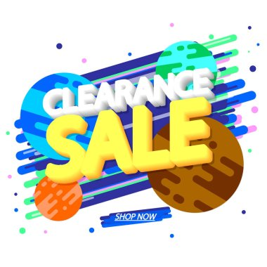 Clearance Sale, banner design template, special offer, discount tag, promotion app icon, vector illustration