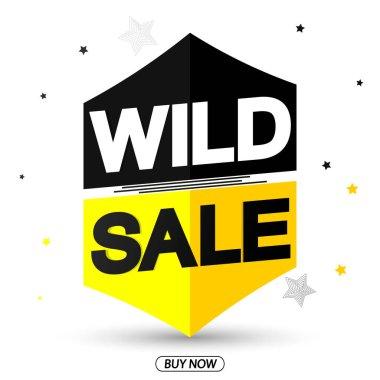 Wild Sale, promotion banner design template, discount tag, vector illustration