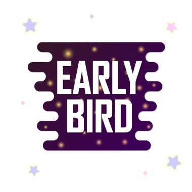 Early Bird, Sale promotion banner design template, discount tag, vector illustration