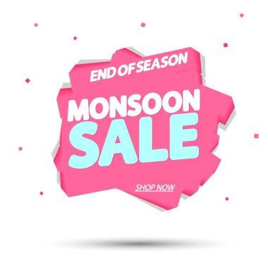 Monsoon Sale, promotion banner design template, discount tag, vector illustration