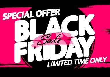 Black Friday Sale, poster design template, special offer, end of season, vector illustration