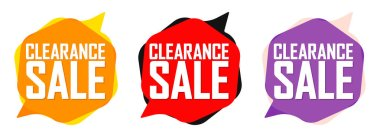 Clearance Sale, set bubble banners design template, discount tags, app icons, vector illustration