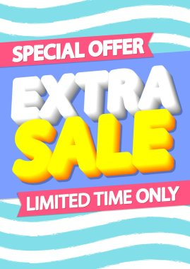 Extra Sale poster design template, special offer, end of season, vector illustration