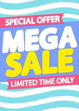 Mega Sale poster design template, special offer, end of season, vector illustration