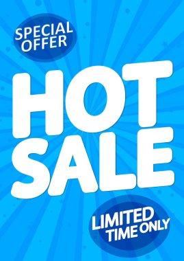 Hot Sale poster design template, special offer, end of season, vector illustration