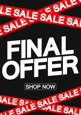Final Sale poster design template, special offer, end of season, vector illustration