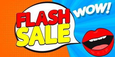 Flash Sale poster design template, special offer, end of season, vector illustration