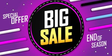 Big Sale poster design template, special offer, end of season, vector illustration