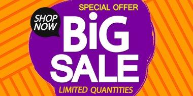 Big Sale poster design template, special offer, end of season, vector illustration