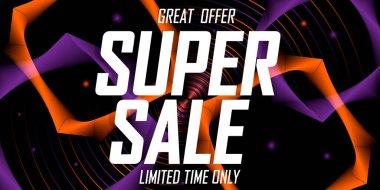 Super Sale poster design template, special offer, end of season, vector illustration