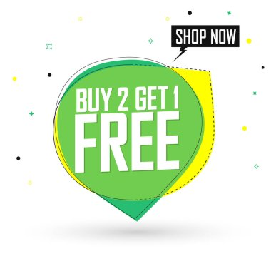 Buy 2 Get 1 Free, sale bubble banner design template, discount tag, app icon, vector illustration