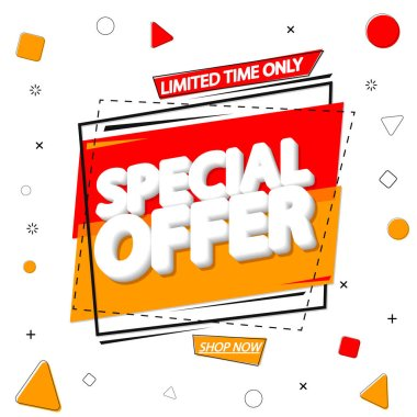 Special Offer, sale banner design template, discount tag, promo poster, vector illustration
