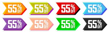Set Sale 55% off tags, bubble banners design template, app icons, today only, vector illustration