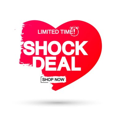 Shock Deal, Sale banner design template, discount tag, app icon, vector illustration