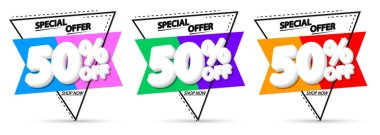 Set Sale 50% off banners, discount tags design template, vector illustration
