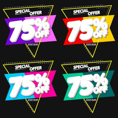 Set Sale 75% off banners, discount tags design template, vector illustration
