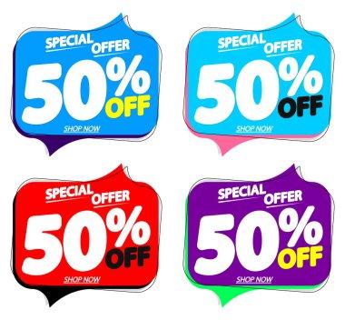 Set Sale 50% off speech bubble banners, discount tags design template, vector illustration