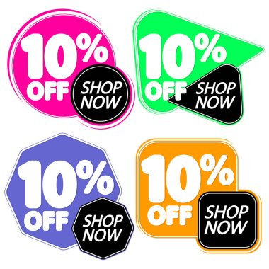 Set Sale 10% off banners, discount tags design template, vector illustration