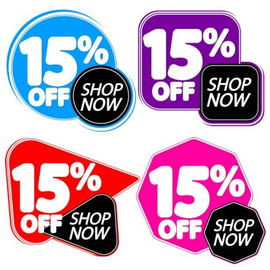 Set Sale 15% off banners, discount tags design template, vector illustration