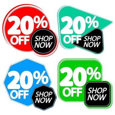 Set Sale 20% off banners, discount tags design template, vector illustration