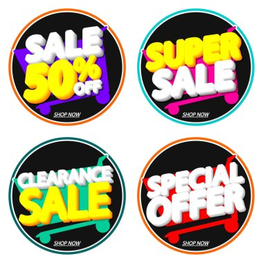 Set Sale banners design template, discount tags, app icons, vector illustration