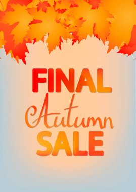 Autumn Sale, poster design template, special offer, Fall discount banner, vector illustration