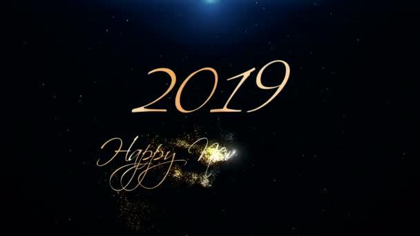 2019. šťastný nový rok pozdrav krásný Text animace