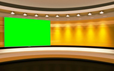 Yellow Studio. Yellow wall with light. Yellow background. Yellow back drop. 3d renderin