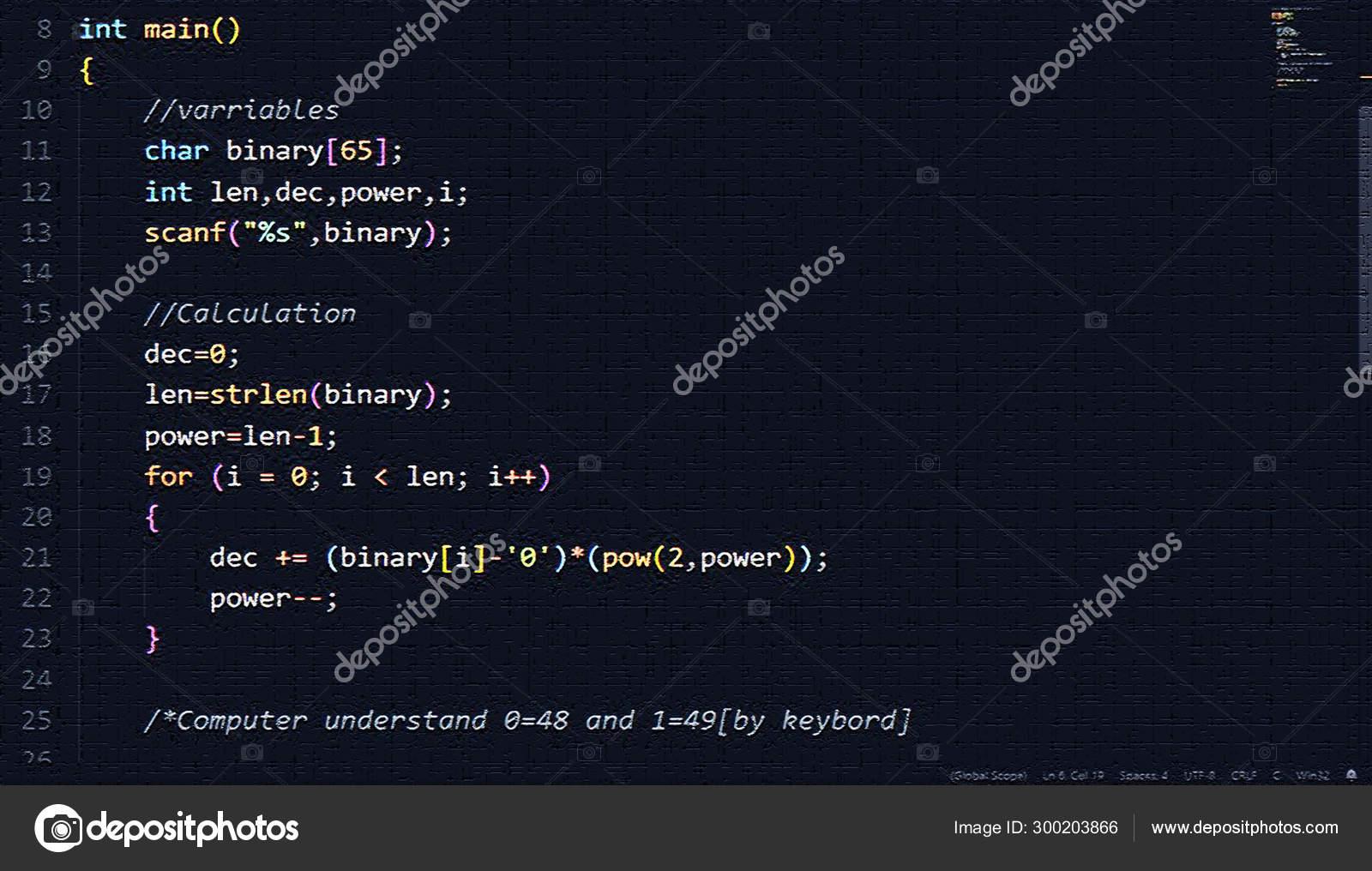 C Programming Hd Wallpaper In Vs Code Stock Photo