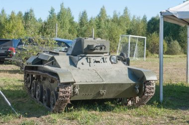 Chernogolovka, Moscow region, RUSSIA - August 25, 2018: Soviet old light tank T-60 of the great WW2 at the retro rally