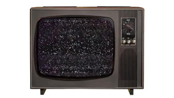 Statikus zaj és zöld chroma key, a végén egy vintage régi Tv készlet elszigetelt fehér background