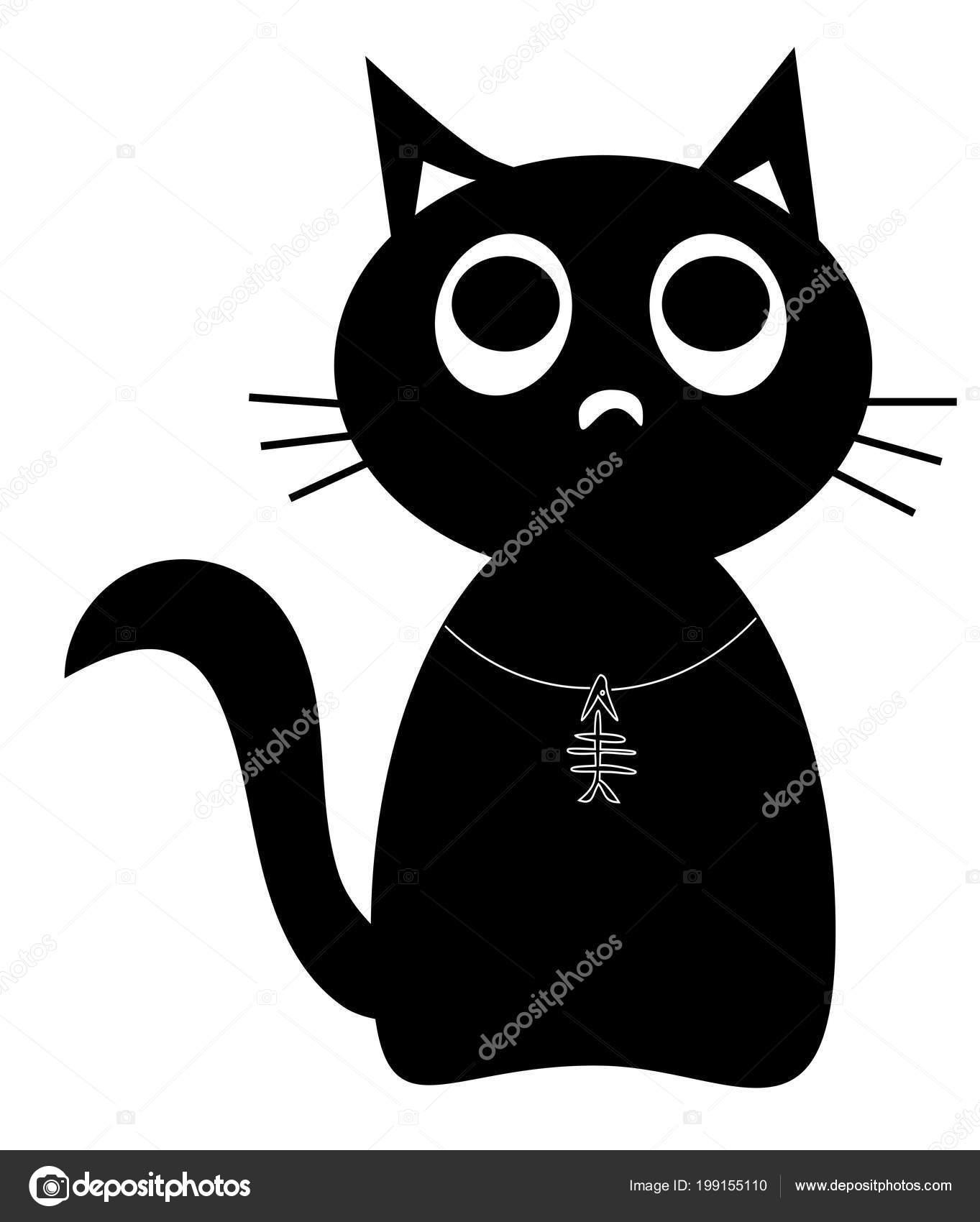 Personnage De Dessin Anime Mignon Chat Noir Avec Pendentif Fishbone