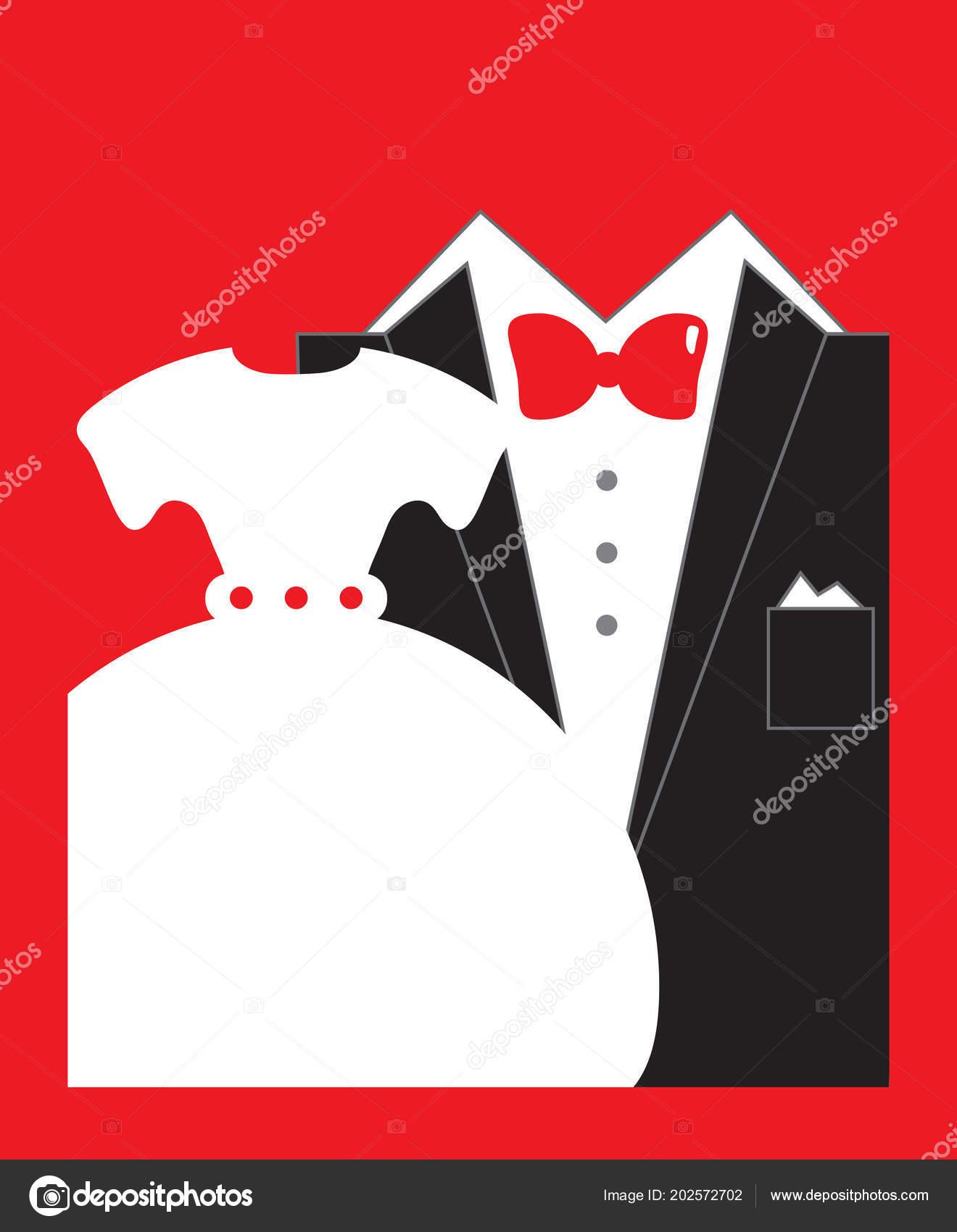 Bride Groom Wedding Invitation Red Black White Colors Copy Space ...