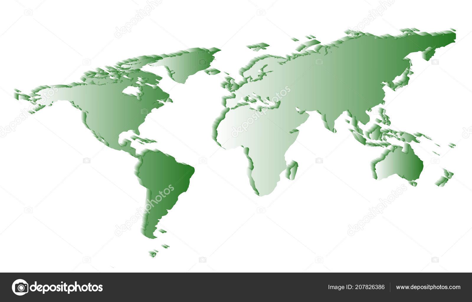 平らな白い世界地図シルエット画角の影で白い背景に ストックベクター