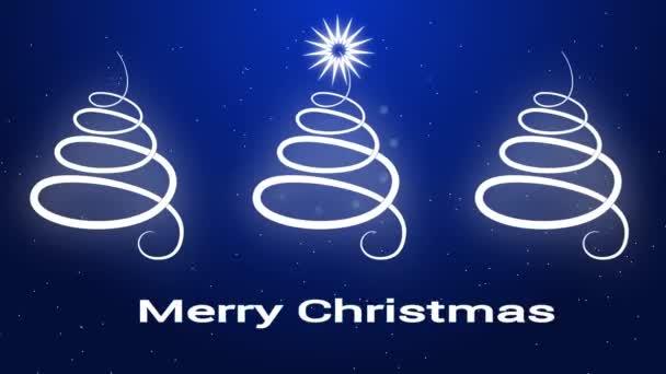 Merry Christmas Greeting Card Minimalism Style Three Christmas Trees