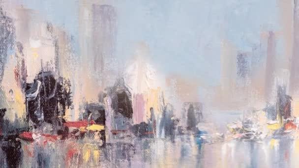 Panorama s výhledem na město odrazy na vodě. Originální olejomalba na plátně, animace s teo vrstev a závada efekt