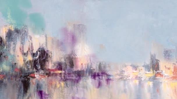 S mraky vzhled barvy a odrazy na vodní animace Panorama výhledem na město. Originální olejomalba na plátně