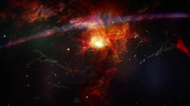 Parallaxis animáció a mozgás porfelhő, és a csillagok. Helyet a háttér köd, a csillagok és a flash lencse fényfolt projektek tudományos használatra. Ez a kép a Nasa berendezett elemei